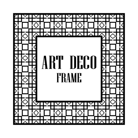 Art deco border and frame. Creative template in style of 1920s for your design. Vector illustration. Vintage retro invitation. EPS 10