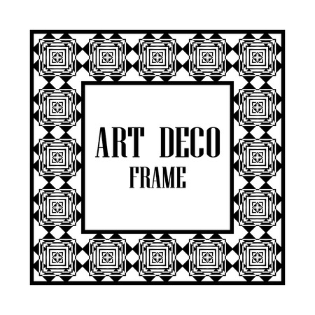 Art deco border and frame. Creative template in style of 1920s for your design. Vector illustration. Vintage retro invitation. EPS 10 Archivio Fotografico - 112273992