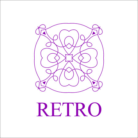 Flourishes calligraphic art emblem template. Luxury elegant deco ornamental design.illustration. Good for Royal sign, Restaurant, Boutique, Cafe, Hotel, Heraldic, Jewelry, Fashion Illusztráció