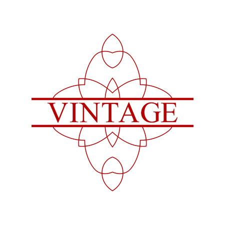 Flourishes calligraphic art deco logo emblem template with place for text. Luxury elegant deco ornamental logo design. Vector illustration Logo