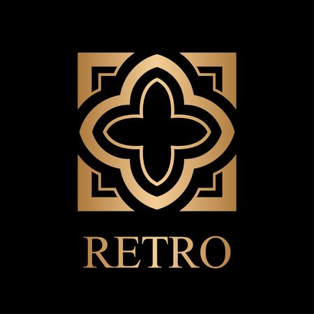 Flourishes calligraphic art deco logo emblem template. Luxury elegant deco ornamental logo design. Vector illustration. Vectores