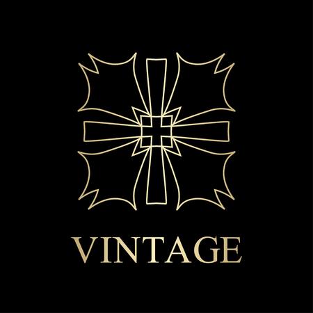 Flourishes calligraphic art deco logo emblem template. Luxury elegant deco ornamental logo design. Vector illustration. Logo