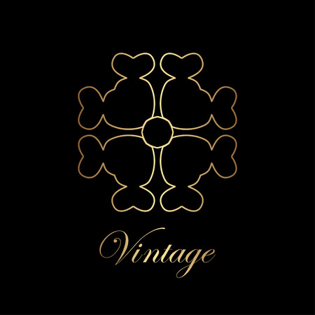 Flourishes calligraphic art deco logo emblem template. Luxury elegant deco ornamental logo design. Vector illustration. Illustration