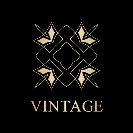 Flourishes calligraphic art deco logo emblem template. Luxury elegant deco ornamental logo design. Vector illustration. Çizim