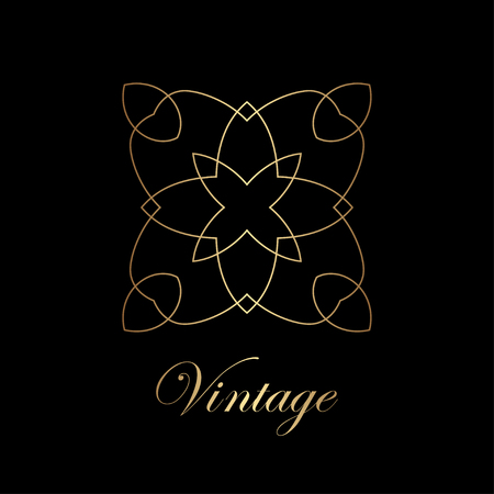 Flourishes calligraphic art deco logo emblem template. Luxury elegant deco ornamental logo design. Vector illustration.