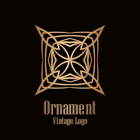 Retro style logo design, luxury vintage geometric vector illustration, art deco element