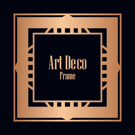 Art deco vintage border, frame. Retro design vector illustration