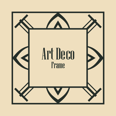 Art deco vintage border, frame. Retro design vector illustration