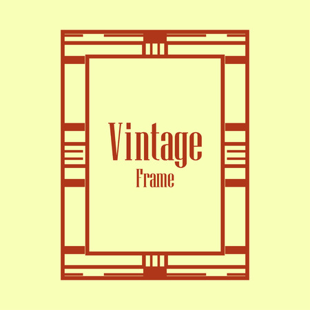 Retro style border frame design, luxury vintage geometric vector illustration, art deco element Vectores