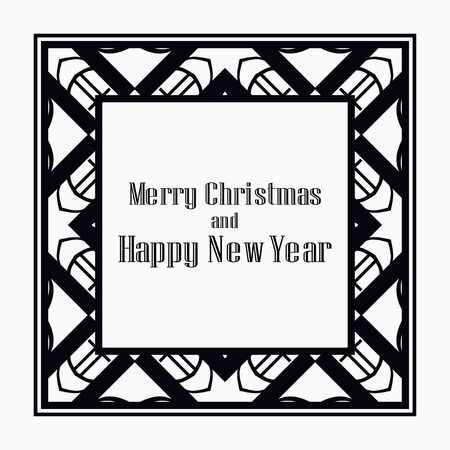 Art deco border and frame. Merry Christmas and Happy New Year greeting card. 2019 year. Creative template in style of 1920s for your design. Vector illustration. EPS 10