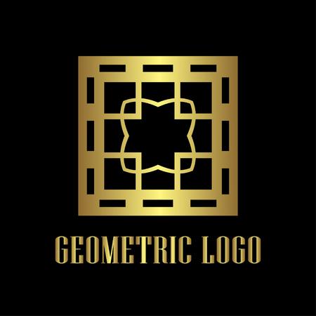 Art deco golden luxury antique hipster minimal geometric vintage linear vector logo, badge design for club, bar, cafe, restaurant, hotel, boutique Logo