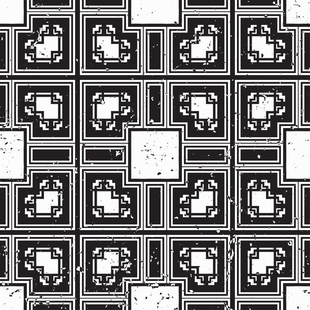 Vector modern tiles pattern. Abstract art deco seamless monochrome background 矢量图像