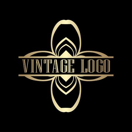 Luxury antique art deco golden hipster minimal ornamental geometric vintage linear vector frame , border , label for logo, badge design