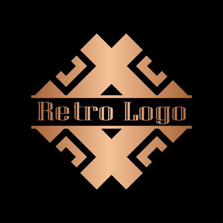 Luxury antique art deco golden hipster minimal ornamental geometric vintage linear vector frame , border , label for logo, badge design Logo
