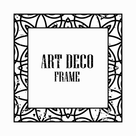 Vintage retro style invitation in Art Deco. Art deco border and frame. Creative template in style of 1920s. Vector illustration eps 10 Illusztráció