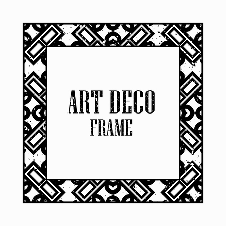 Vintage retro style invitation in Art Deco. Art deco border and frame. Creative template in style of 1920s. Vector illustration eps 10 Illustration