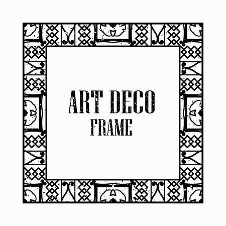 Vintage retro style invitation in Art Deco. Art deco border and frame. Creative template in style of 1920s. Vector illustration eps 10 Иллюстрация