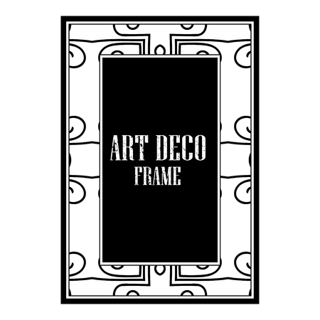 Vintage retro style invitation in Art Deco. Art deco golden border and frame. Creative template in style of 1920s. Vector illustration. EPS 10
