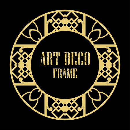 Vector art deco style circle frame. Art-deco decoration for text