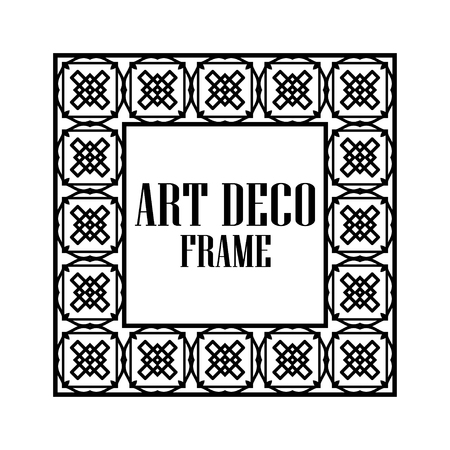 Art deco vintage border frame. Retro design template. Vector illustration