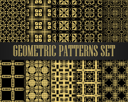 Art Deco Patterns Set. Golden backgrounds. Fan scales ornaments. Geometric decorative digital papers. Vector line design. 1920-30s motifs. Luxury vintage illustration