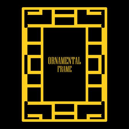 Art deco ornamental border frame. Template for vintage design. Vector illustration