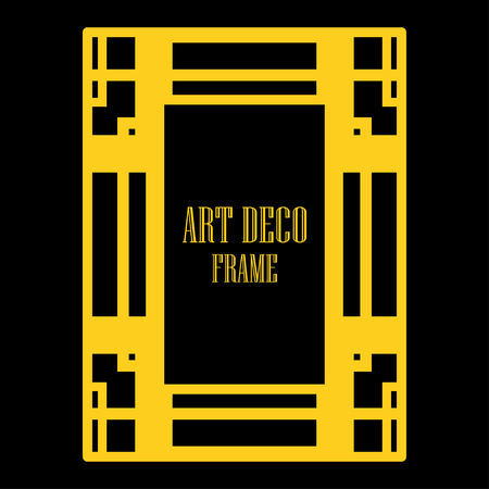 Art deco ornamental border frame. Template for vintage design. Vector illustration