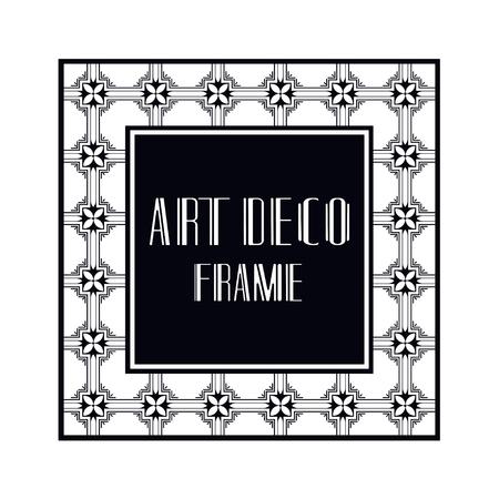Vintage retro ornamental art deco border frame. Geometric ornate element for design Illustration