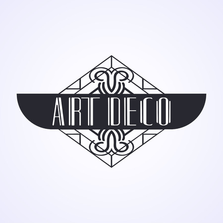 Vintage modern art deco frame design for labels, banner, logo, emblem, apparel, t- shirts, sticker and other design object. Vector illustration Ilustrace