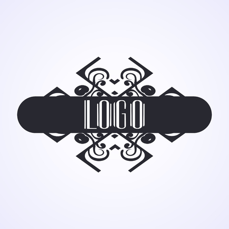 Beautiful emblem, badge for template logo in the modern art deco style