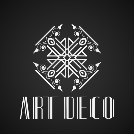 Vintage ornamental retro modern art deco logo template for design