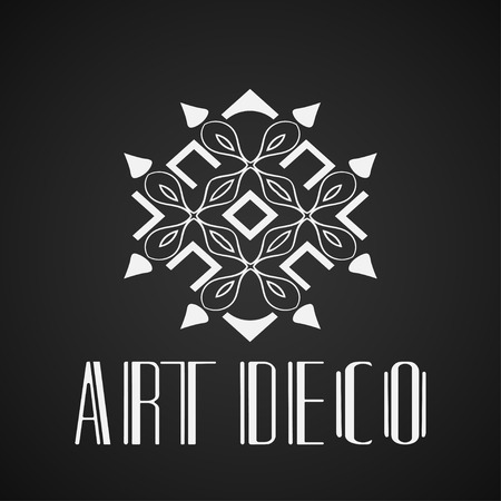 Beautiful emblem, badge for template logo in modern art deco style