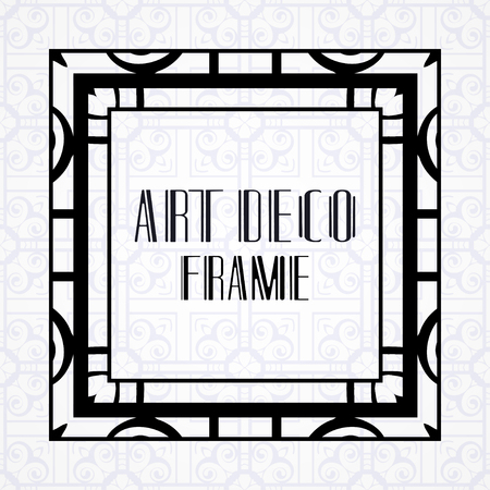 Vintage ornamental modern art deco border frame for invitation and packaging of luxury products. Retro luxury background Illustration