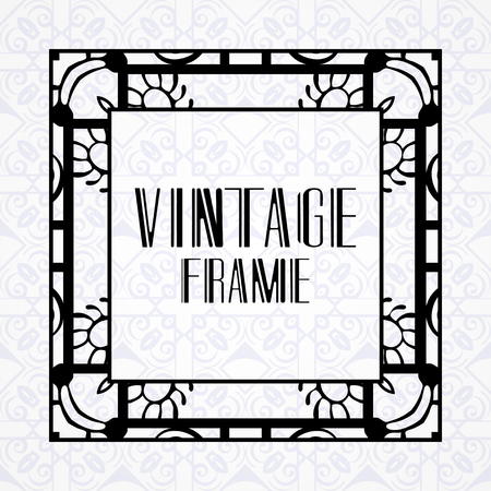 Vector geometric frame in modern art deco style. Rectangle vector abstract element for design of badge, logo, label, invitation and packaging of luxury products. Vintage luxury background
