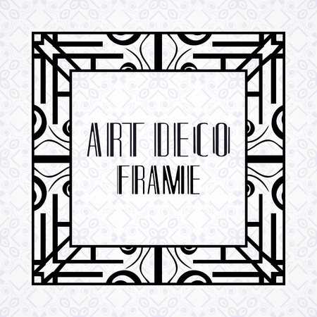 Modern art deco vintage border and frame for design of badge, logo, label, invitation and packaging of luxury products. Retro luxury background. Vector illustration