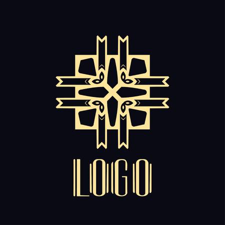 Vintage ornamental retro modern art deco logo template for design Stok Fotoğraf - 121472410