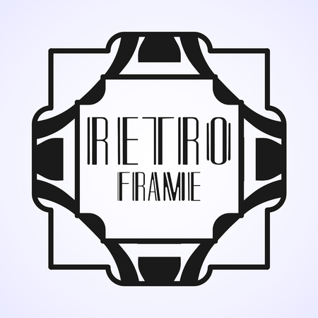 Vector geometric border and frame in modern art deco style. Rectangle vector abstract element for design of badge, logo, label, invitation and packaging of luxury products. Vintage luxury background
