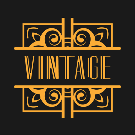 Vintage modern art deco frame design for labels, banner, logo, emblem, apparel, t-shirts, sticker, packaging of luxury products and other design objects