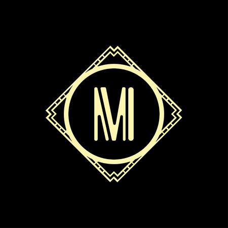 Modern art deco luxury classic monochrome geometric vintage vector monogram, frame , border , label for your logo badge design Stok Fotoğraf - 121469065
