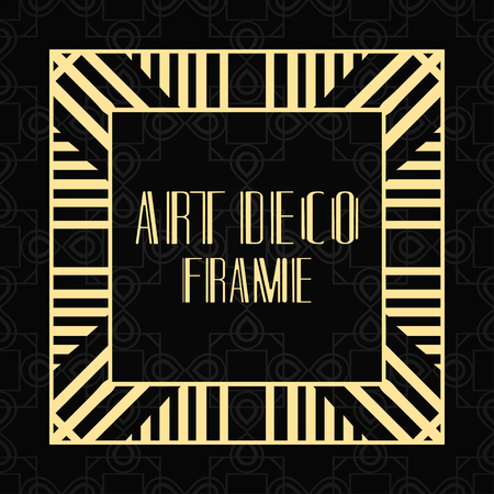 Modern art deco frame. Vintage ornamental border. Design a template for invitations, leaflets, greeting cards and packaging of luxury products. Retro luxury background. Vector illustration Vettoriali