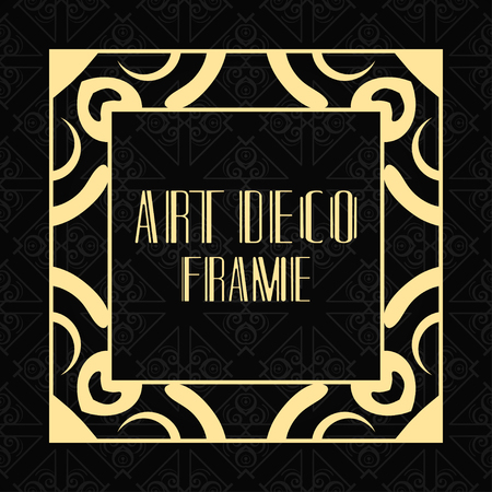 Vector geometric frame in modern art deco style. Rectangle vector abstract element for design of badge, logo, label, invitation and packaging of luxury products. Vintage luxury background Logo