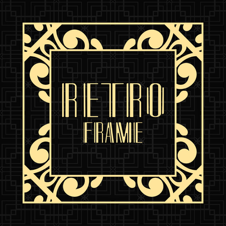 Vintage ornamental modern art deco border frame for invitation and packaging of luxury products. Retro luxury background Ilustração