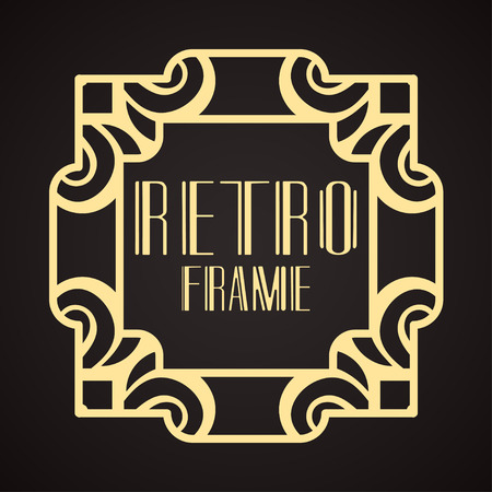 Modern art deco frame. Vintage ornamental border. Design a template for invitations, leaflets, greeting cards and packaging of luxury products. Retro luxury background. Vector illustration