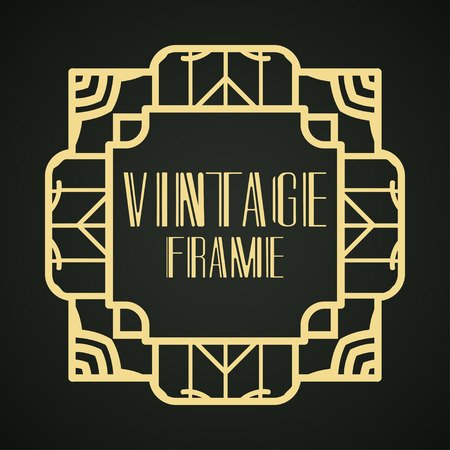 Vintage ornamental modern art deco border frame for invitation and packaging of luxury products. Retro luxury background Vectores