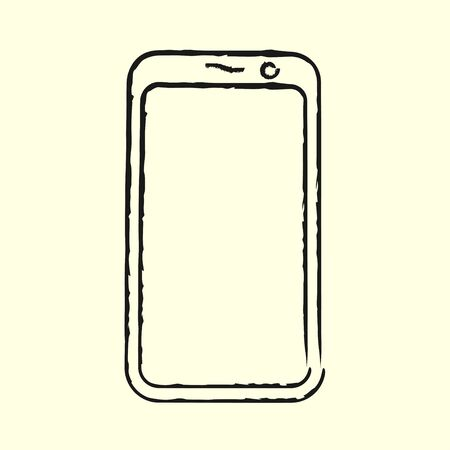 Smartphone line art icon, outline style vector illustration, simple mobile phone. Hand drawn sketch isolated