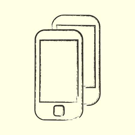 Smart mobile phone. Sketch illustration in vector. Line art 向量圖像
