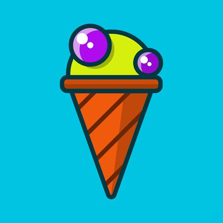 Ice cream colored flat icon on blue background. Vector illustration