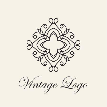 Vintage ornamental template for logo design. Flourishes calligraphic elegant retro royal sign. Vector illustration