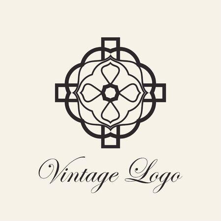 Vintage ornamental template for logo design. Flourishes calligraphic elegant retro royal sign. Vector illustration Ilustração
