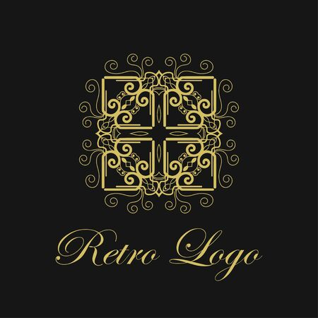 Vector ornament logo design template. Luxury vintage modern art deco element. Can be used as emblem for design Stock Illustratie